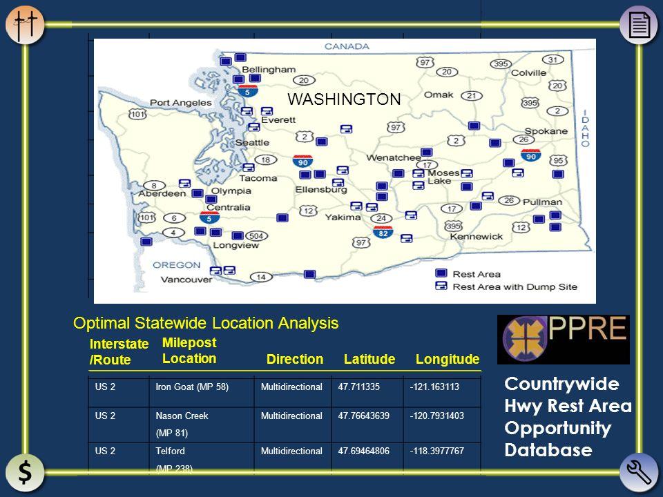 I-5Gee CreekNorthbound45.77708028-122.6695372 (MP 11) I-5Gee CreekSouthbound45.79914722-122.6806075 (MP 12) I-5Toutle RiverNorthbound46.35090584-122.9