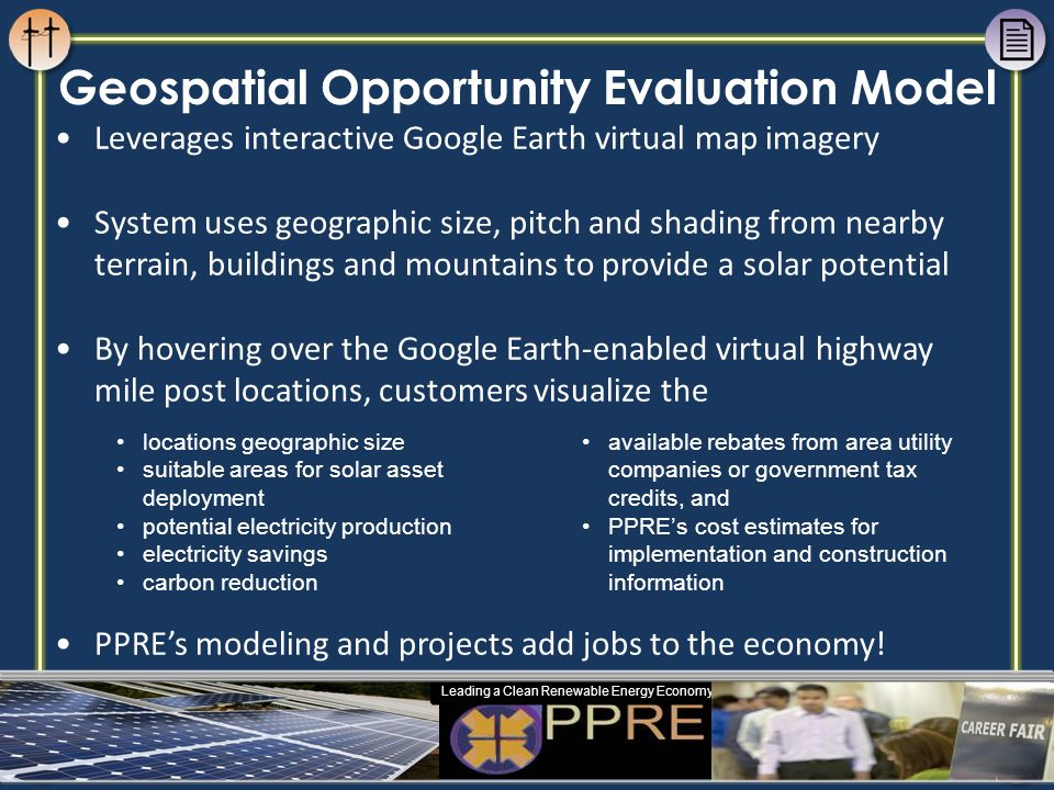 Leverages interactive Google Earth virtual map imagery System uses geographic size, pitch and shading from nearby terrain, buildings and mountains to
