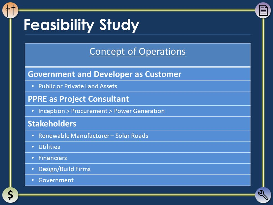 Feasibility Study Concept of Operations Government and Developer as Customer Public or Private Land Assets PPRE as Project Consultant Inception > Proc