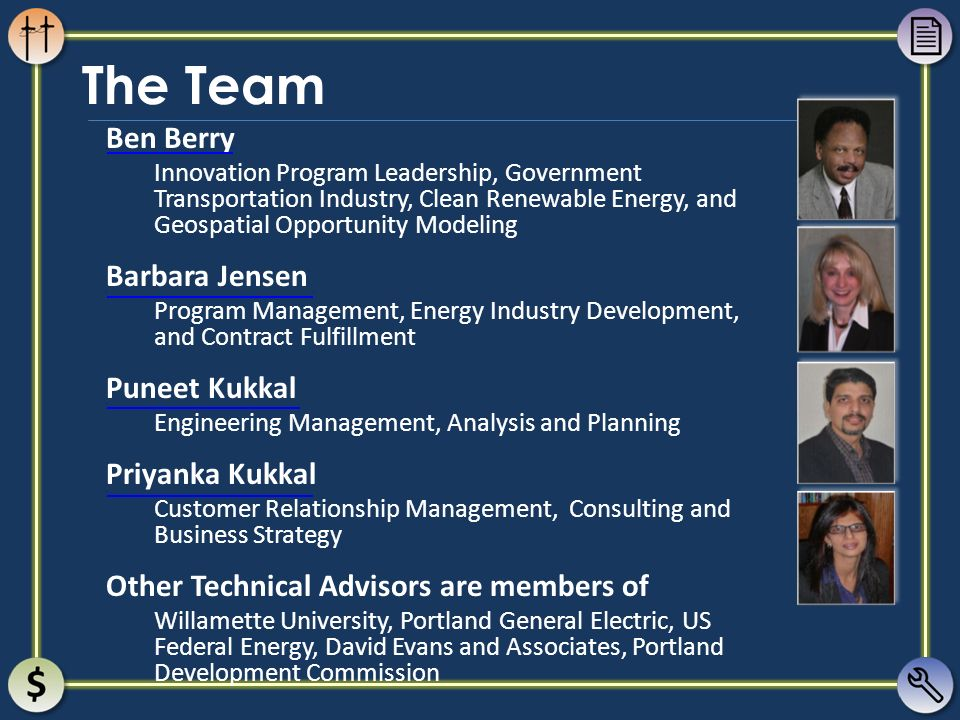 The Team Ben Berry Innovation Program Leadership, Government Transportation Industry, Clean Renewable Energy, and Geospatial Opportunity Modeling Barb