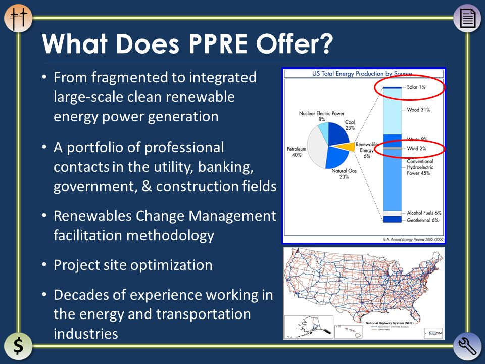 What Does PPRE Offer? From fragmented to integrated large-scale clean renewable energy power generation A portfolio of professional contacts in the ut