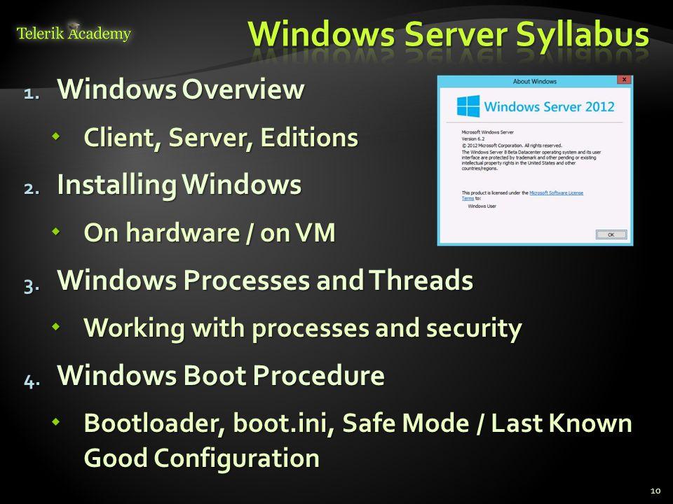 1. Windows Overview Client, Server, Editions Client, Server, Editions 2. Installing Windows On hardware / on VM On hardware / on VM 3. Windows Process