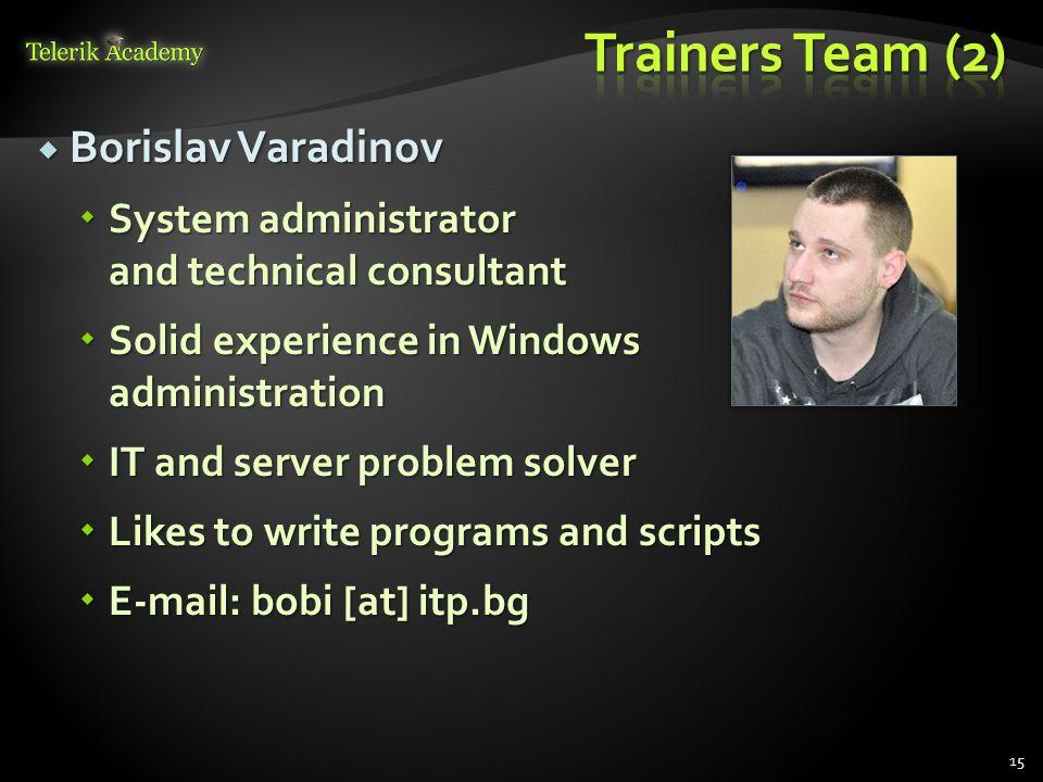 Borislav Varadinov Borislav Varadinov System administrator and technical consultant System administrator and technical consultant Solid experience in