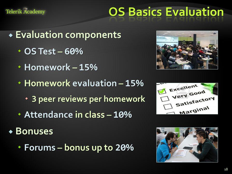 Evaluation components Evaluation components OS Test – 60 % OS Test – 60 % Homework – 15 % Homework – 15 % Homework evaluation – 15 % Homework evaluati