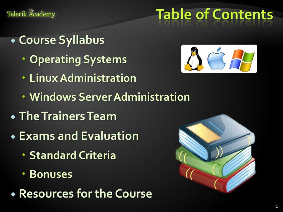 2 Course Syllabus Course Syllabus Operating Systems Operating Systems Linux Administration Linux Administration Windows Server Administration Windows
