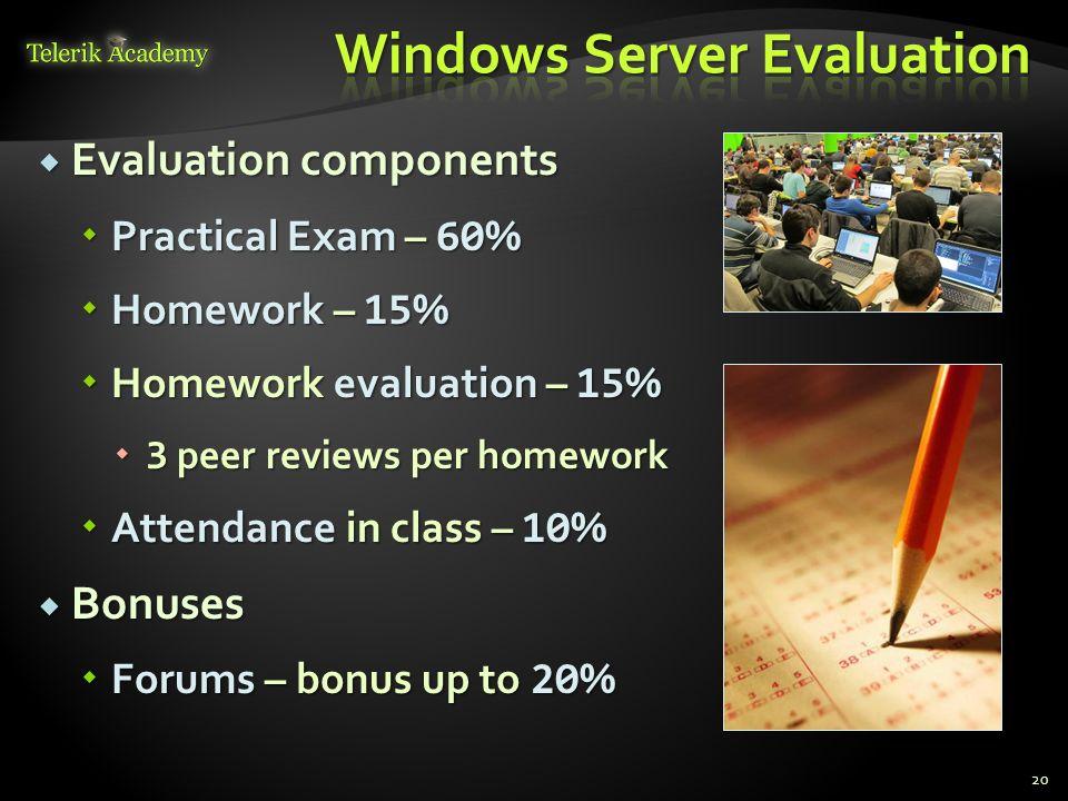 Evaluation components Evaluation components Practical Exam – 60 % Practical Exam – 60 % Homework – 15 % Homework – 15 % Homework evaluation – 15 % Hom