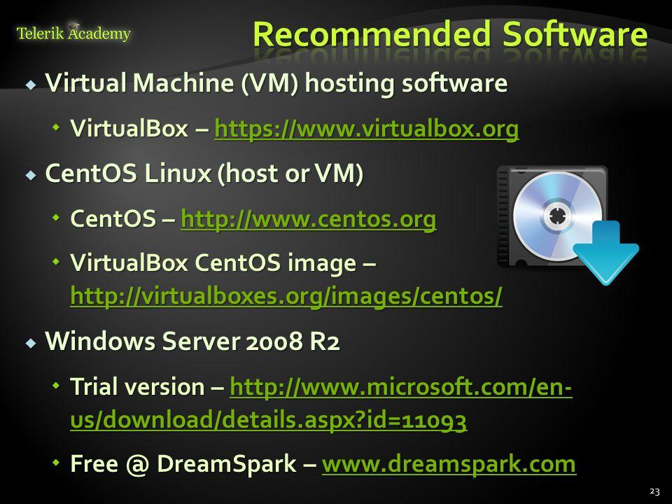 Virtual Machine (VM) hosting software Virtual Machine (VM) hosting software VirtualBox – https://www.virtualbox.org VirtualBox – https://www.virtualbo