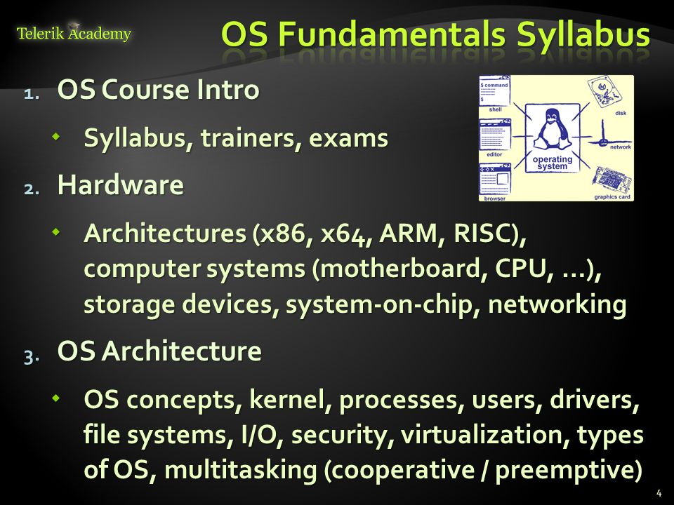 1. OS Course Intro Syllabus, trainers, exams Syllabus, trainers, exams 2. Hardware Architectures (x86, x64, ARM, RISC), computer systems (motherboard,