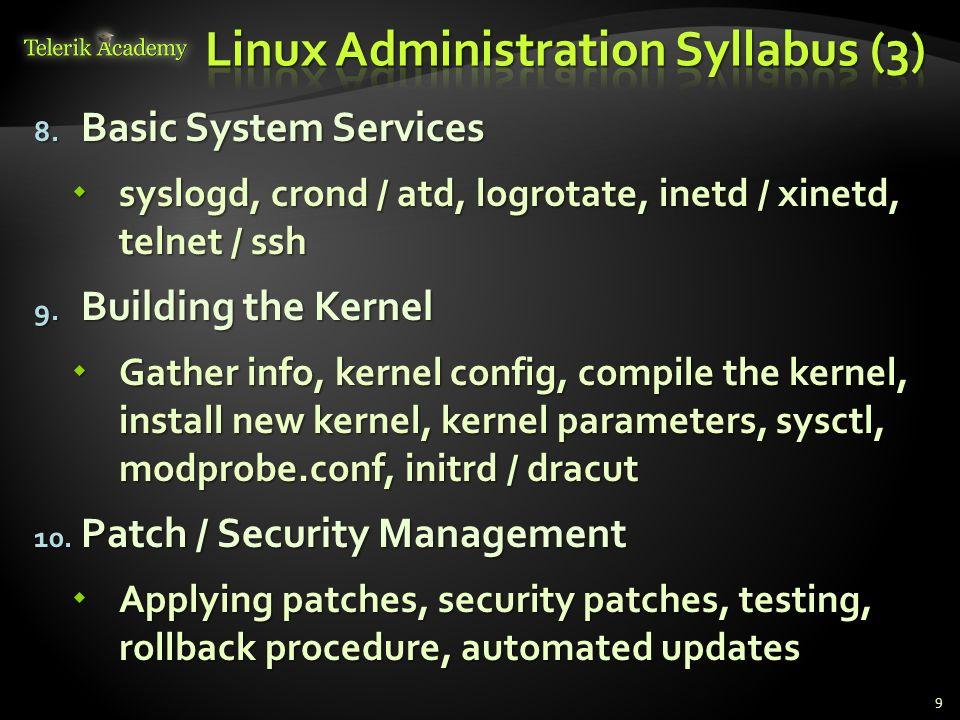 8. Basic System Services syslogd, crond / atd, logrotate, inetd / xinetd, telnet / ssh syslogd, crond / atd, logrotate, inetd / xinetd, telnet / ssh 9