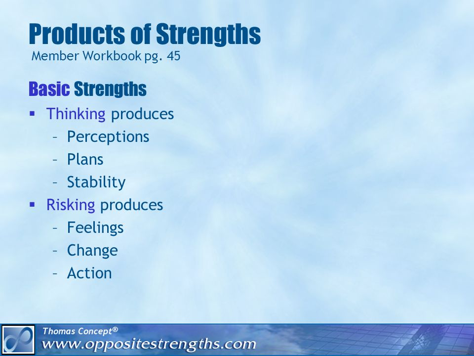 Products of Strengths Basic Strengths Thinking produces –Perceptions –Plans –Stability Risking produces –Feelings –Change –Action Member Workbook pg.