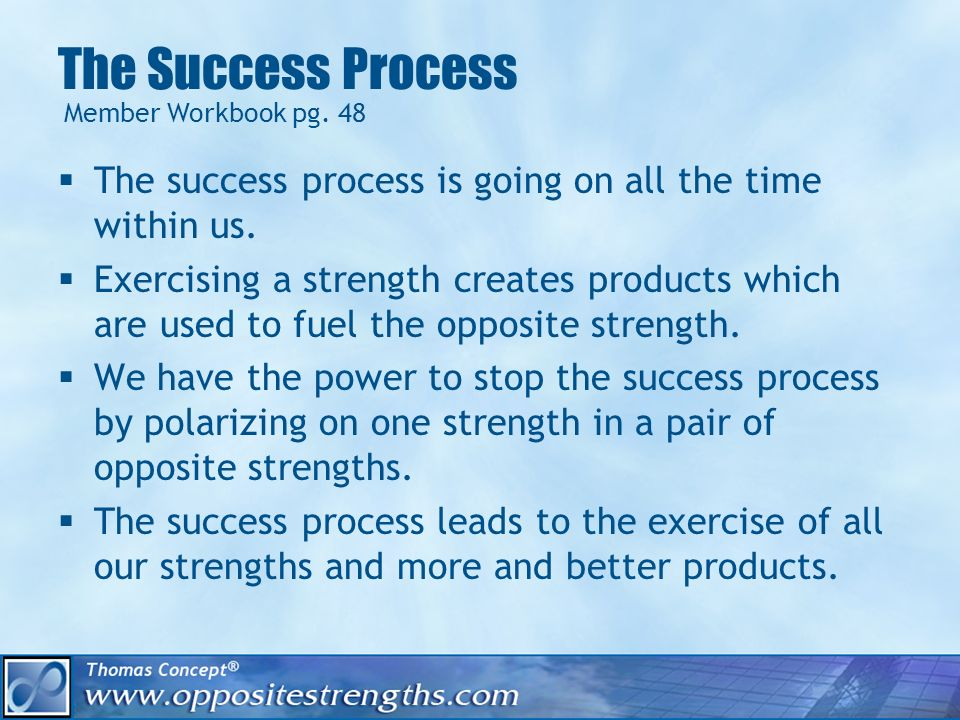 The Success Process The success process is going on all the time within us.