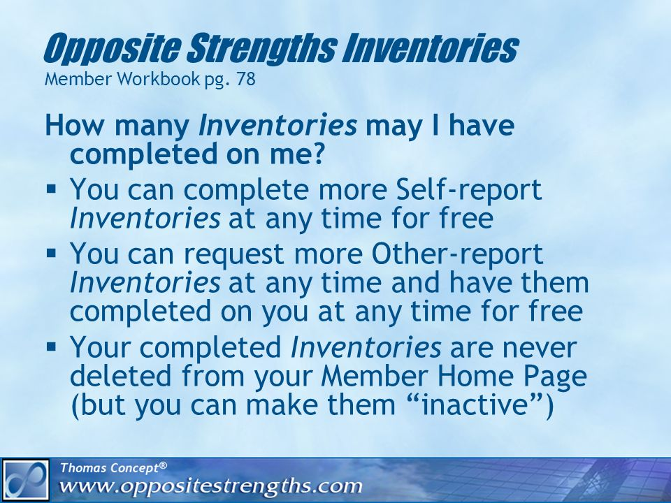 Opposite Strengths Inventories Member Workbook pg.