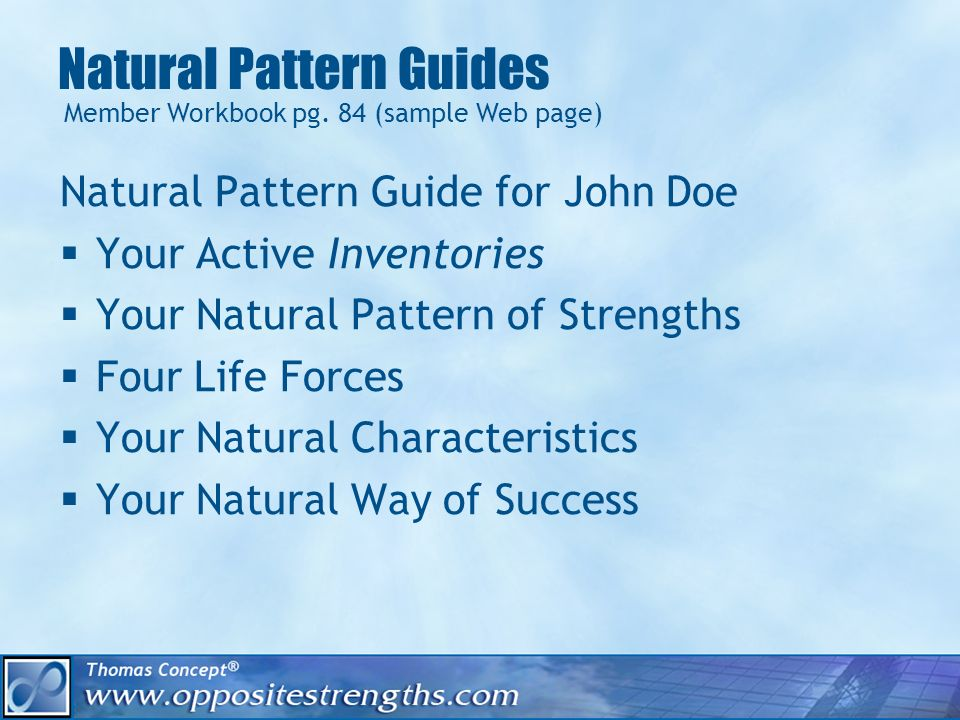 Natural Pattern Guides Natural Pattern Guide for John Doe Your Active Inventories Your Natural Pattern of Strengths Four Life Forces Your Natural Characteristics Your Natural Way of Success Member Workbook pg.