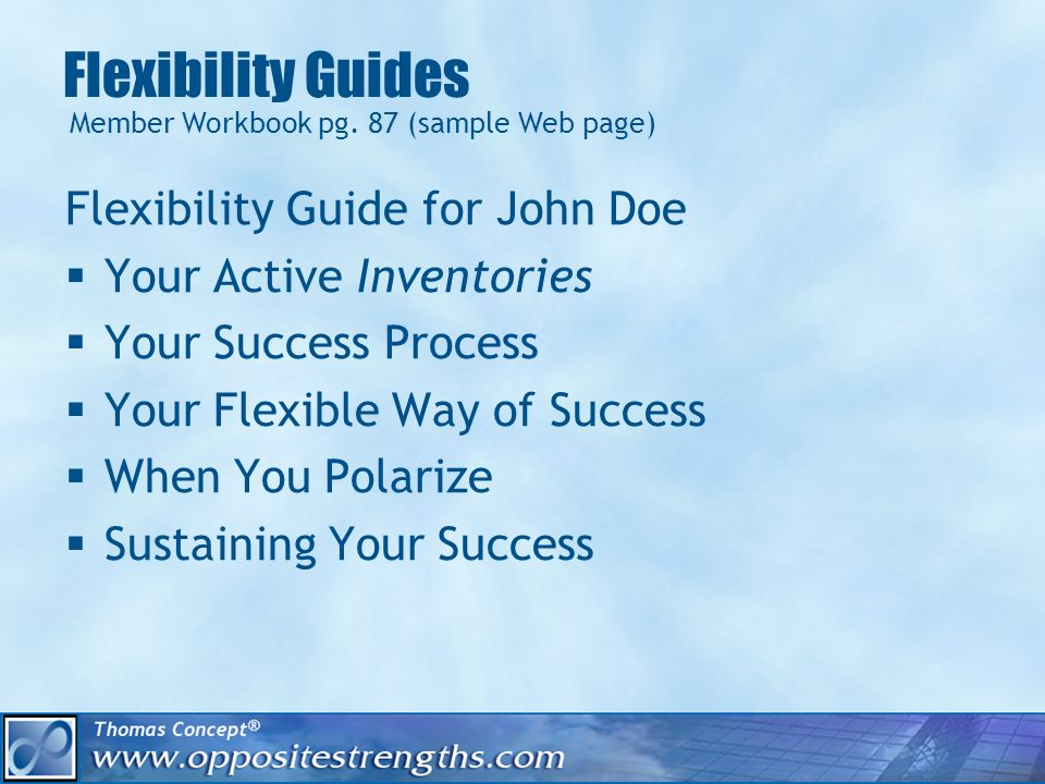 Flexibility Guides Flexibility Guide for John Doe Your Active Inventories Your Success Process Your Flexible Way of Success When You Polarize Sustaining Your Success Member Workbook pg.