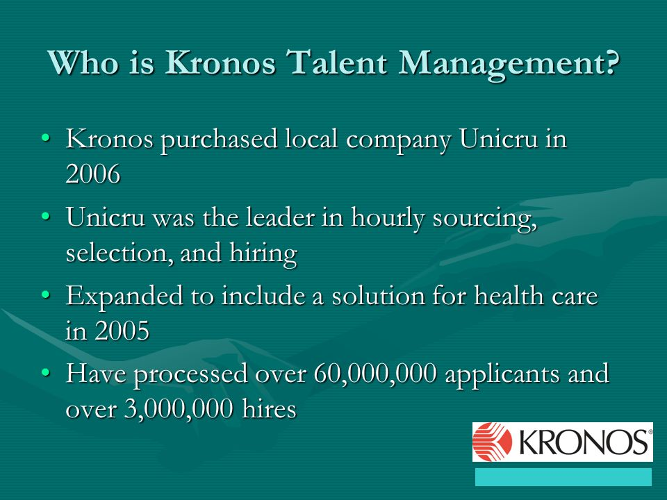 Who is Kronos Talent Management.
