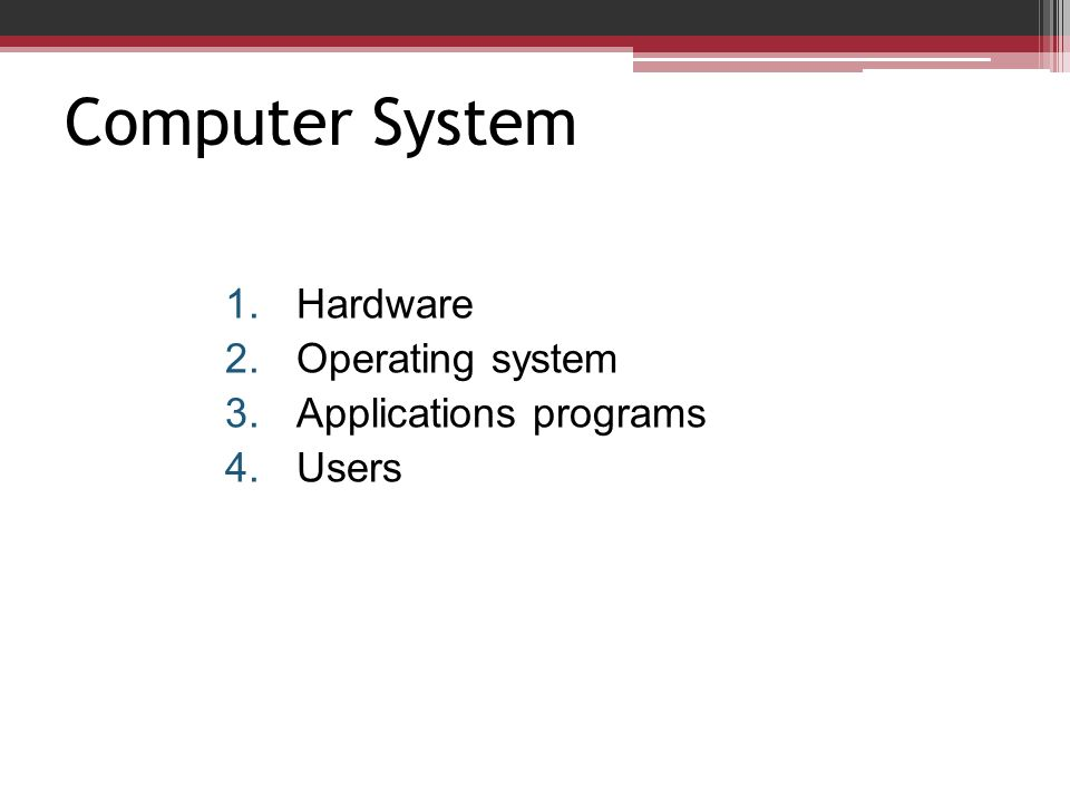 Computer System 1.Hardware 2.Operating system 3.Applications programs 4.Users