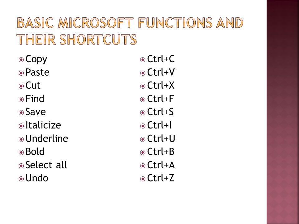Copy Paste Cut Find Save Italicize Underline Bold Select all Undo Ctrl+C Ctrl+V Ctrl+X Ctrl+F Ctrl+S Ctrl+I Ctrl+U Ctrl+B Ctrl+A Ctrl+Z