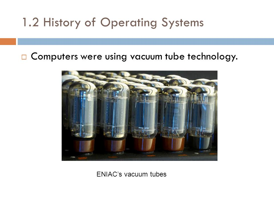 1.2 History of Operating Systems Computers were using vacuum tube technology. ENIACs vacuum tubes