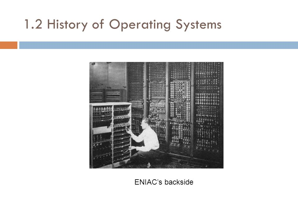 1.2 History of Operating Systems ENIACs backside