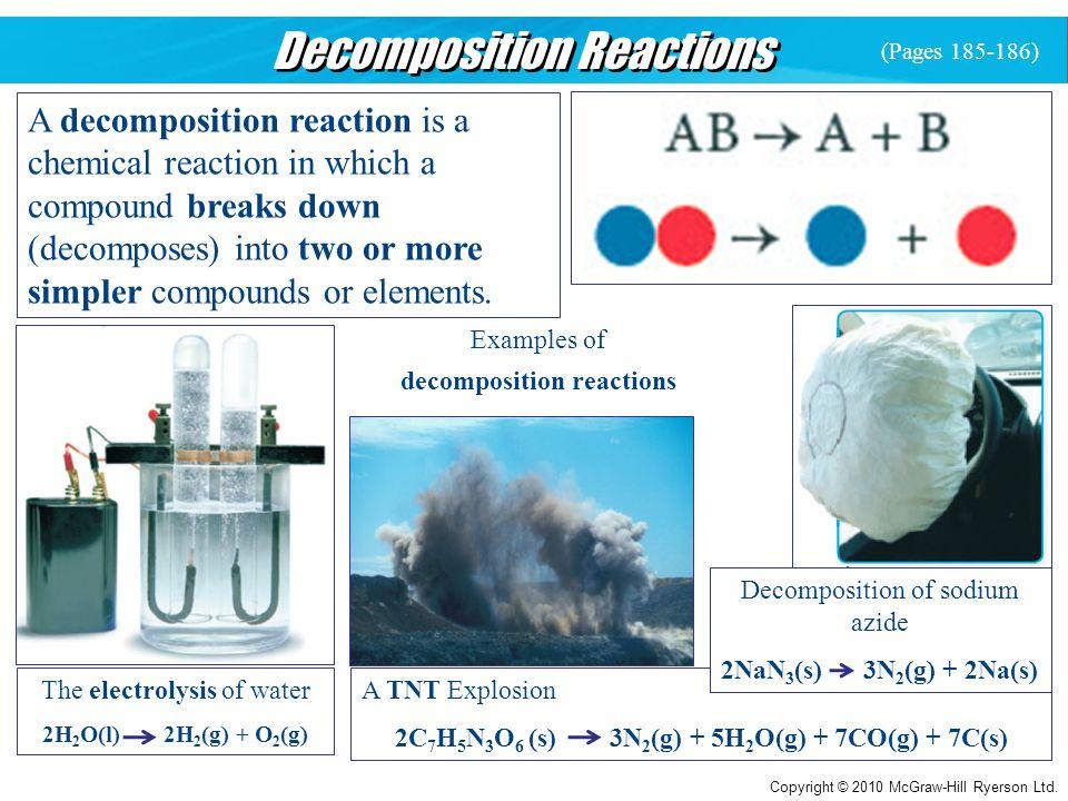 Copyright © 2010 McGraw-Hill Ryerson Ltd. Decomposition Reactions A decomposition reaction is a chemical reaction in which a compound breaks down (dec