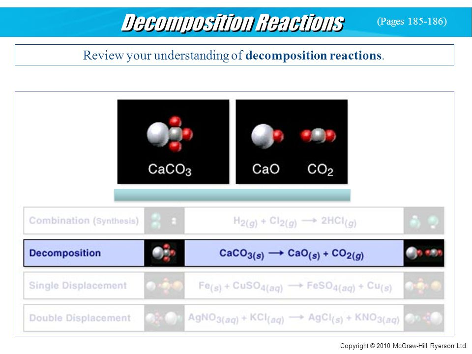 Copyright © 2010 McGraw-Hill Ryerson Ltd. Decomposition Reactions Review your understanding of decomposition reactions. (Pages 185-186)