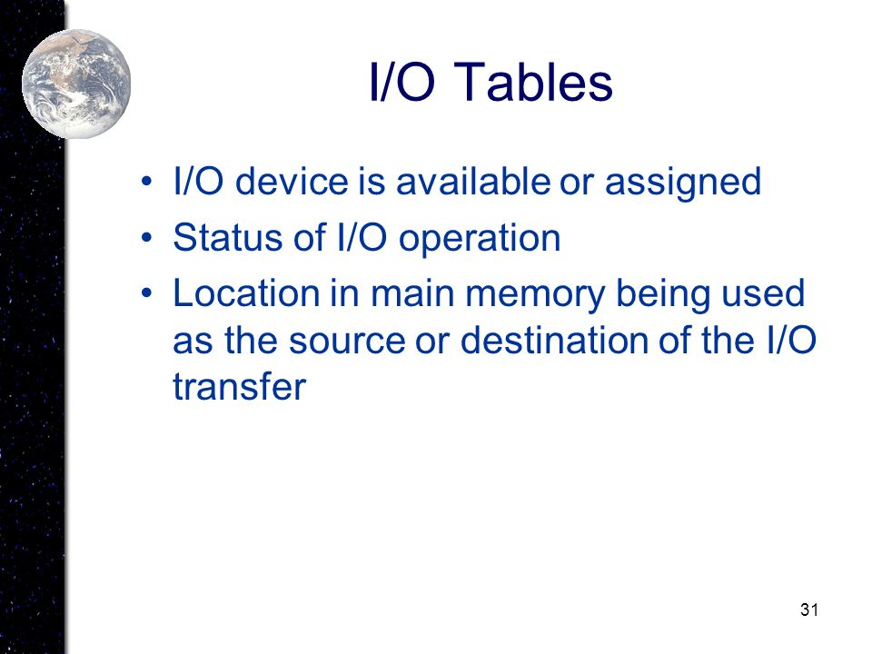 31 I/O Tables I/O device is available or assigned Status of I/O operation Location in main memory being used as the source or destination of the I/O t