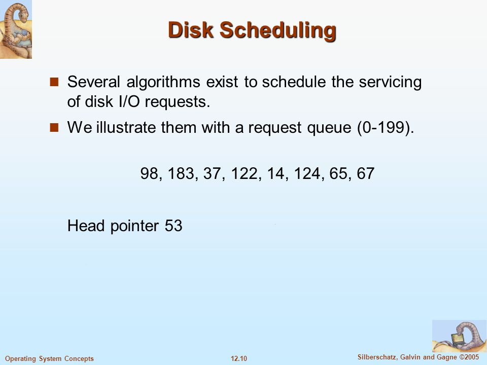 12.10 Silberschatz, Galvin and Gagne ©2005 Operating System Concepts Disk Scheduling Several algorithms exist to schedule the servicing of disk I/O re