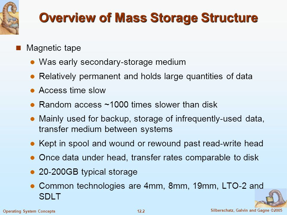 12.2 Silberschatz, Galvin and Gagne ©2005 Operating System Concepts Overview of Mass Storage Structure Magnetic tape Was early secondary-storage mediu