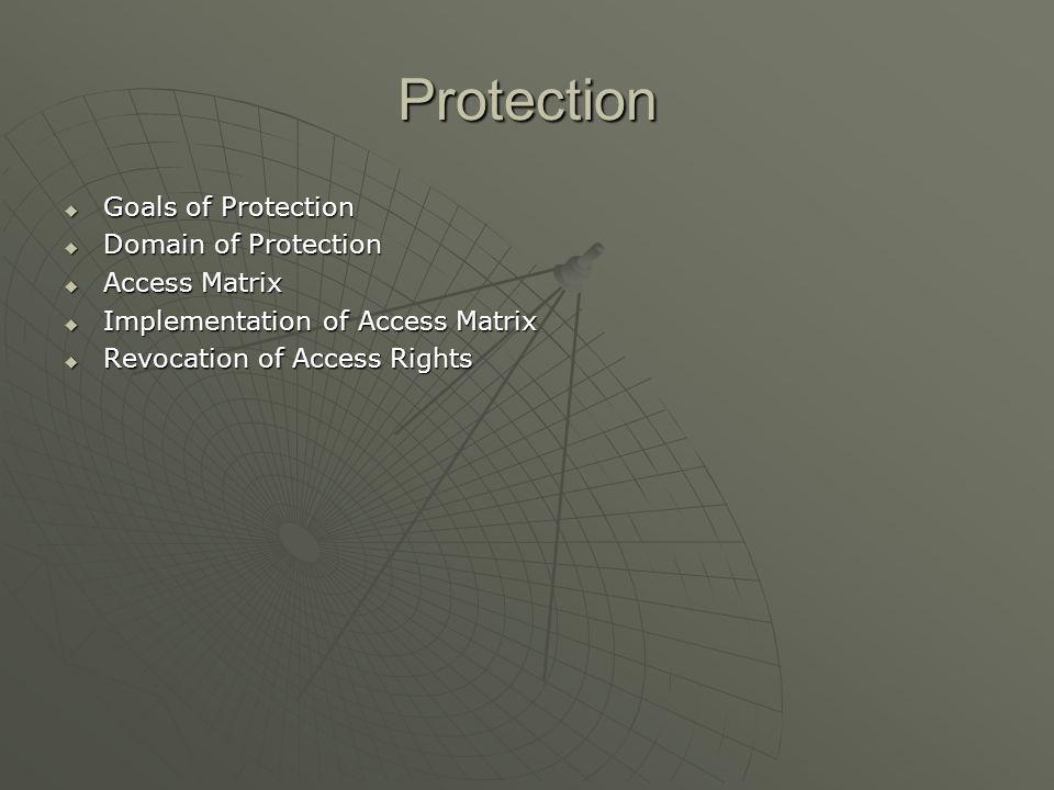 Protection Goals of Protection Goals of Protection Domain of Protection Domain of Protection Access Matrix Access Matrix Implementation of Access Matr