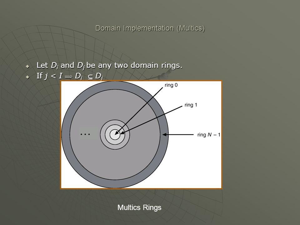 Domain Implementation (Multics) Let D i and D j be any two domain rings. Let D i and D j be any two domain rings. If j < I D i D j If j < I D i D j Mu
