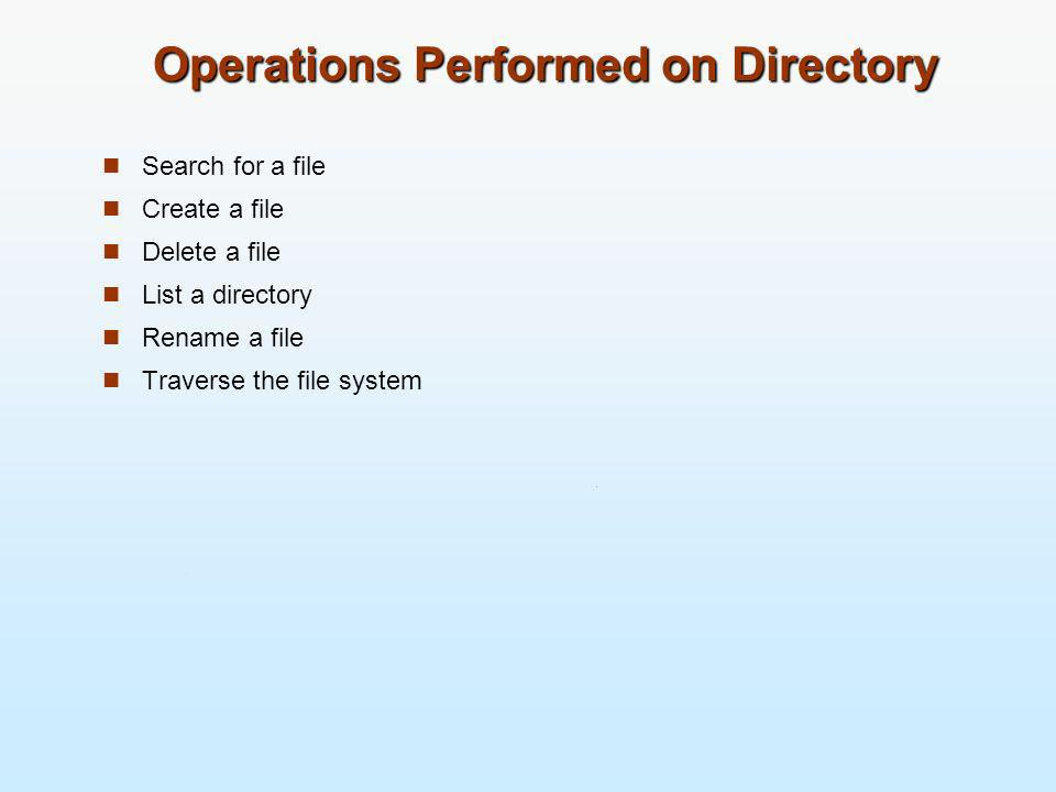 Operations Performed on Directory Search for a file Create a file Delete a file List a directory Rename a file Traverse the file system