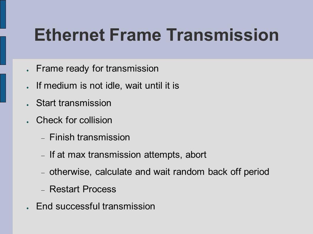 Ethernet Frame Transmission Frame ready for transmission If medium is not idle, wait until it is Start transmission Check for collision Finish transmi