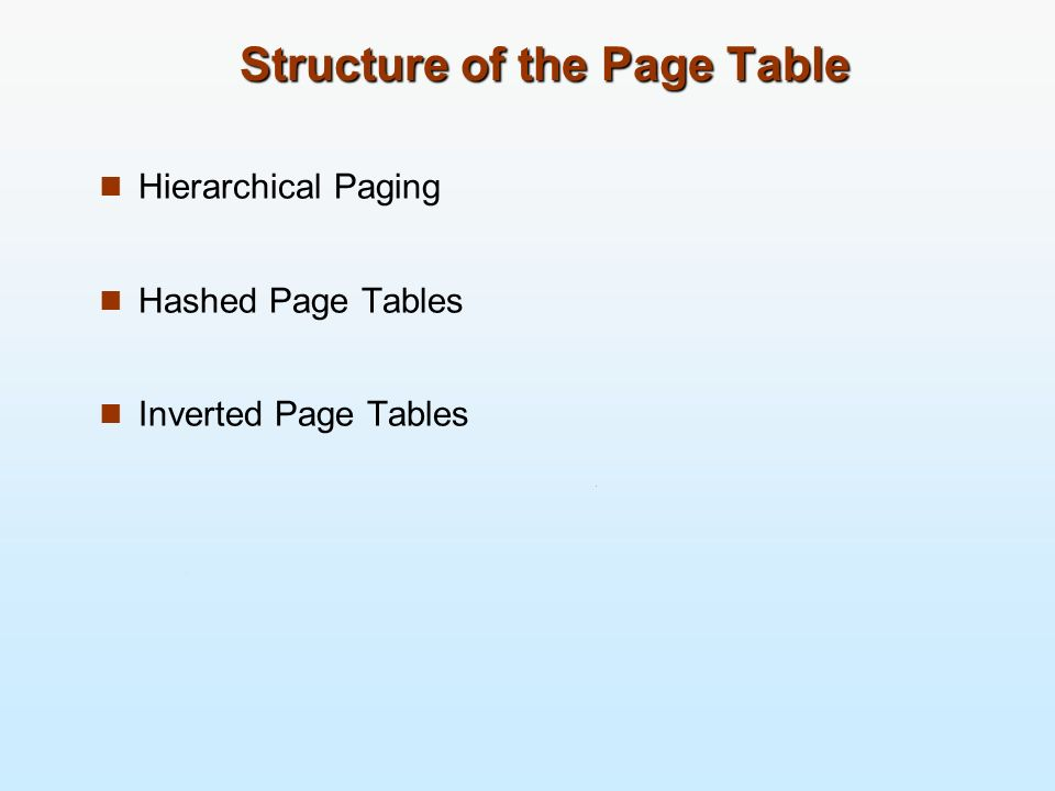 Structure of the Page Table Hierarchical Paging Hashed Page Tables Inverted Page Tables