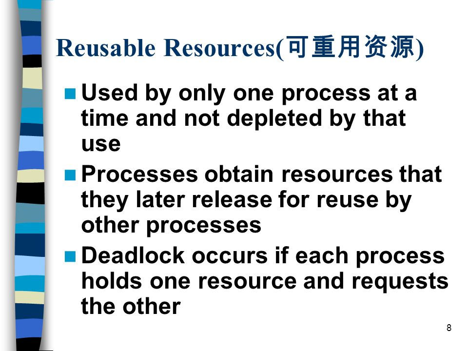 9 Example of Deadlock the execution of the two process is: p0p1q0q1p2q2