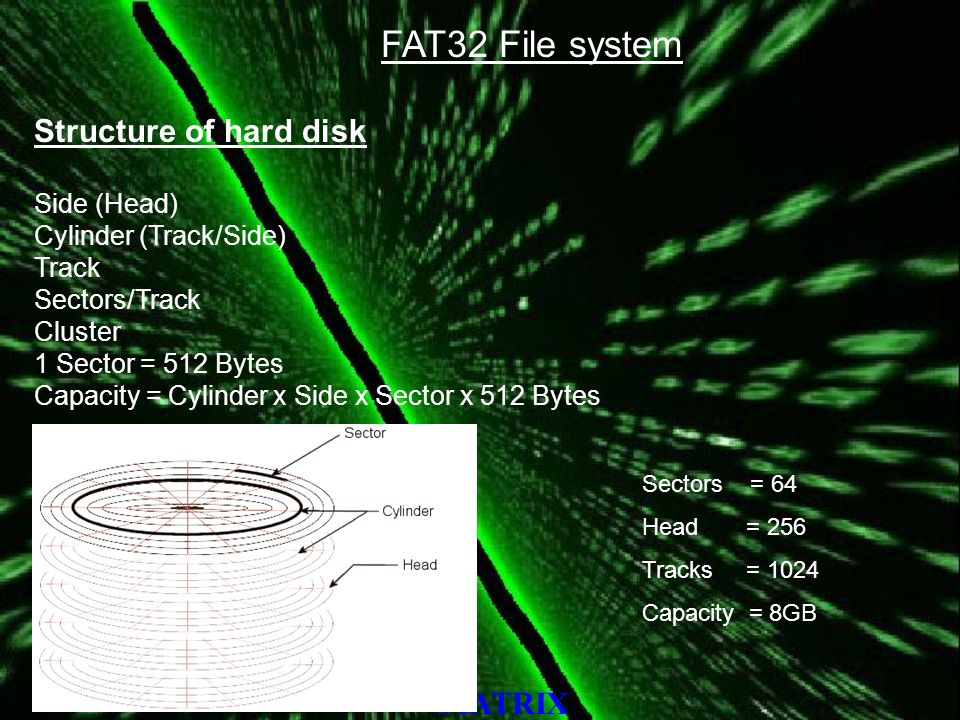 MATRIX FAT32 File system Structure of hard disk Side (Head) Cylinder (Track/Side) Track Sectors/Track Cluster 1 Sector = 512 Bytes Capacity = Cylinder x Side x Sector x 512 Bytes Sectors = 64 Head = 256 Tracks = 1024 Capacity = 8GB