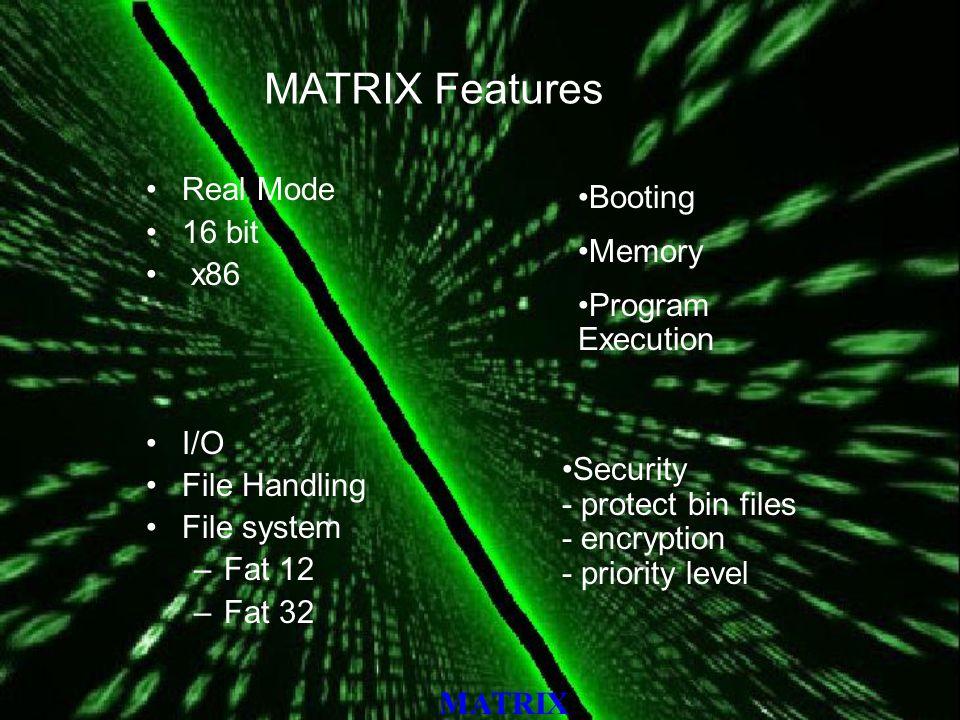 MATRIX Networking - - message transfer - file transfer - ping - listen IO control –Key Board –Monitor –Floppy –Hard disk –Port Error handling Shell - CLI - Multi page - Multi user Environment support for GUI multithreading