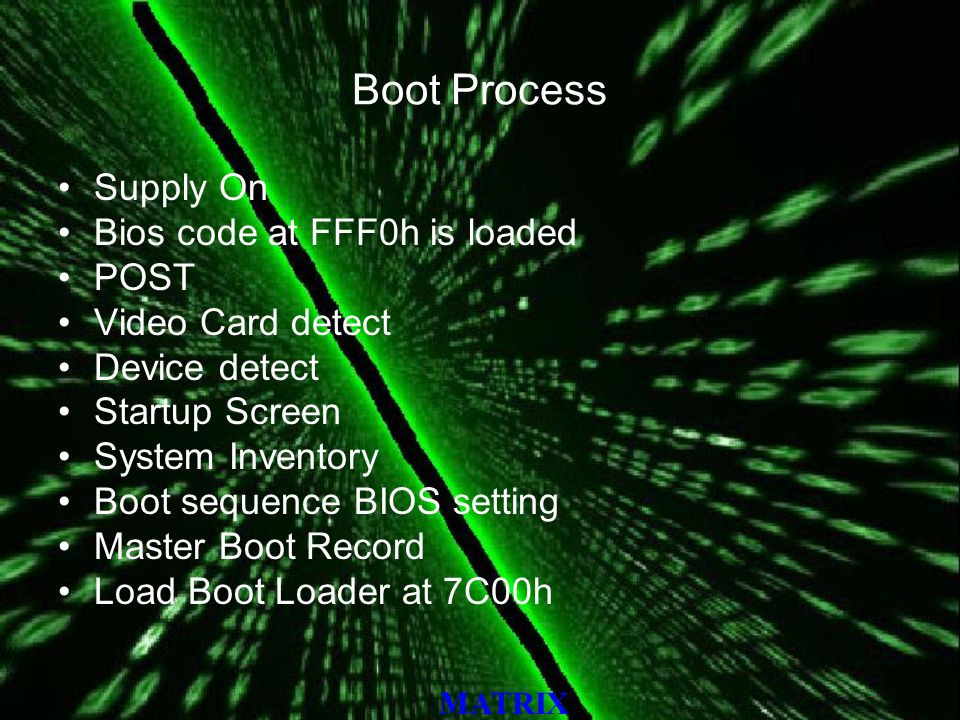 MATRIX Boot Process Supply On Bios code at FFF0h is loaded POST Video Card detect Device detect Startup Screen System Inventory Boot sequence BIOS setting Master Boot Record Load Boot Loader at 7C00h