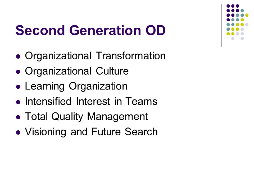 Second Generation OD Organizational Transformation Organizational Culture Learning Organization Intensified Interest in Teams Total Quality Management