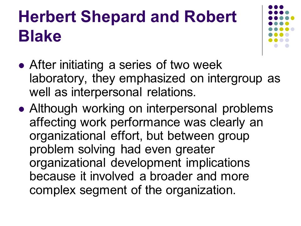 Herbert Shepard and Robert Blake After initiating a series of two week laboratory, they emphasized on intergroup as well as interpersonal relations. A