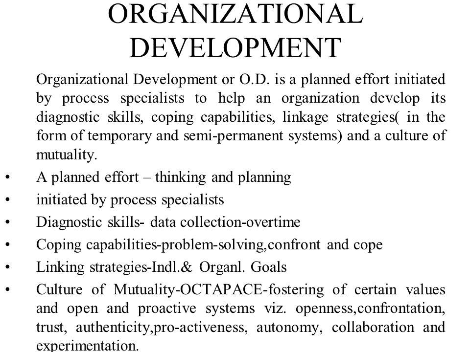 Eight Steps to Successful Organizational Transformation 1.Establishing a sense of urgency -Examining market and competitive realities -Identifying and discussing crises,potential crises, or major opportunities 2.Forming a powerful guiding coalition -Assembling a group with enough power to lead the change effort -Encouraging the group to work together as a team 3.Creating a vision -Creating a vision to help direct the change effort -Developing strategies for achieving the vision 4.Communicating the vision -Using every vehicle possible to communicate the new vision and strategies -Teaching new behaviours by the example of the new coalition 5.Empowering others to act on the vision -Getting rid of obstacles to change -Changing systems or structures that seriously undermine the vision -Encouraging risk taking and non-traditional ideas, activities, and actions