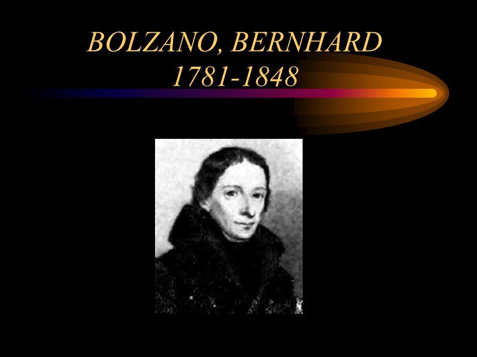 BOLZANO, BERNHARD 1781-1848