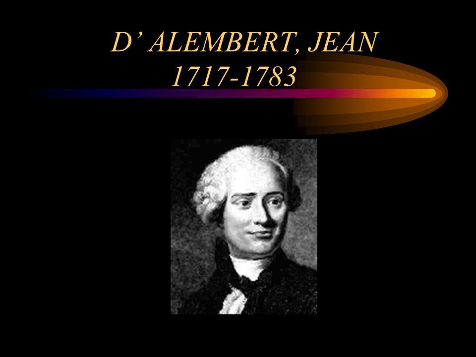 D ALEMBERT, JEAN 1717-1783