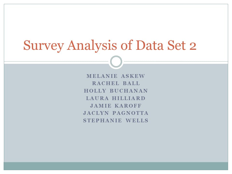 MELANIE ASKEW RACHEL BALL HOLLY BUCHANAN LAURA HILLIARD JAMIE KAROFF JACLYN PAGNOTTA STEPHANIE WELLS Survey Analysis of Data Set 2