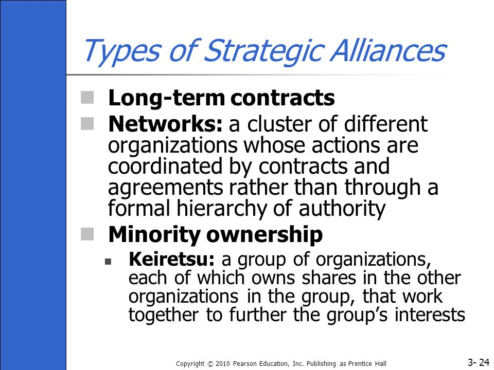 3- Copyright © 2010 Pearson Education, Inc. Publishing as Prentice Hall 24 Types of Strategic Alliances Long-term contracts Networks: a cluster of dif