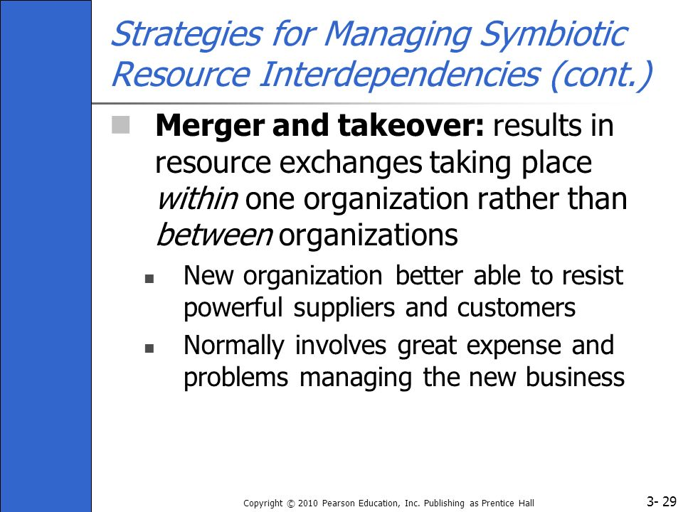 3- Copyright © 2010 Pearson Education, Inc. Publishing as Prentice Hall 29 Strategies for Managing Symbiotic Resource Interdependencies (cont.) Merger