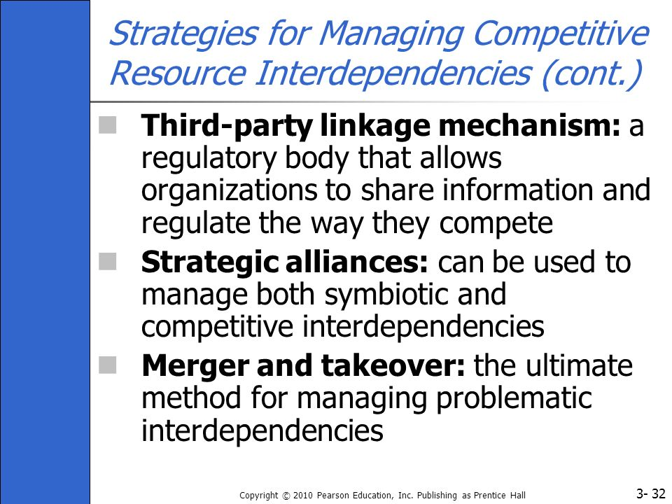 3- Copyright © 2010 Pearson Education, Inc. Publishing as Prentice Hall 32 Strategies for Managing Competitive Resource Interdependencies (cont.) Thir
