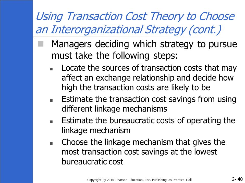 3- Copyright © 2010 Pearson Education, Inc. Publishing as Prentice Hall 40 Using Transaction Cost Theory to Choose an Interorganizational Strategy (co