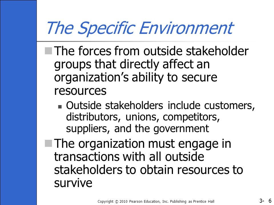 3- Copyright © 2010 Pearson Education, Inc. Publishing as Prentice Hall 6 The Specific Environment The forces from outside stakeholder groups that dir