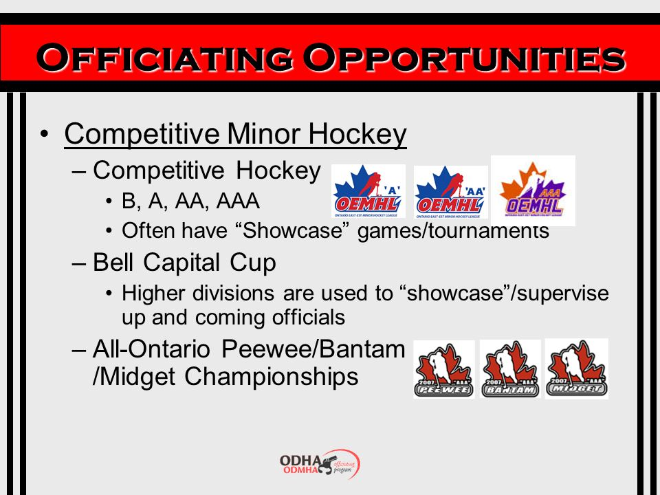 Officiating Opportunities Competitive Minor Hockey –Competitive Hockey B, A, AA, AAA Often have Showcase games/tournaments –Bell Capital Cup Higher divisions are used to showcase/supervise up and coming officials –All-Ontario Peewee/Bantam /Midget Championships