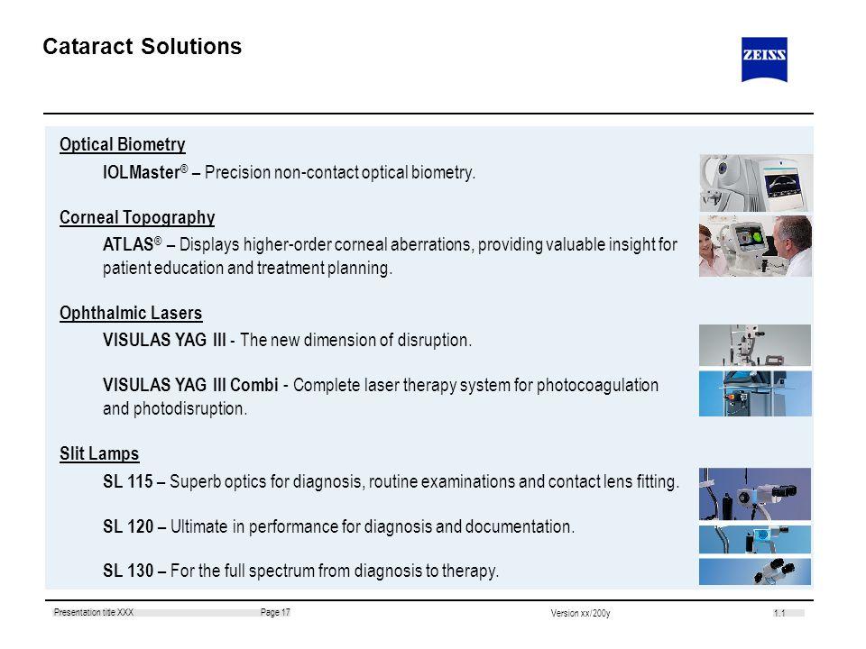 1.1 Page 17Presentation title XXX Version xx/200y Optical Biometry IOLMaster ® – Precision non-contact optical biometry. Corneal Topography ATLAS ® –